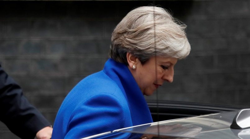 Britain's Prime Minister Theresa May leaves 10 Downing Street in London, to travel to Buckingham Palace for an audience with Britain's Queen Elizabeth II, Friday, June 9, 2017.