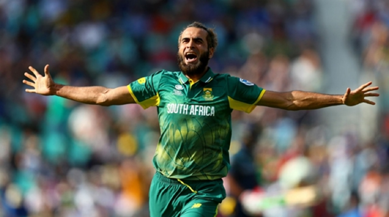 South Africa's Imran Tahir celebrates a wicket at The Oval.