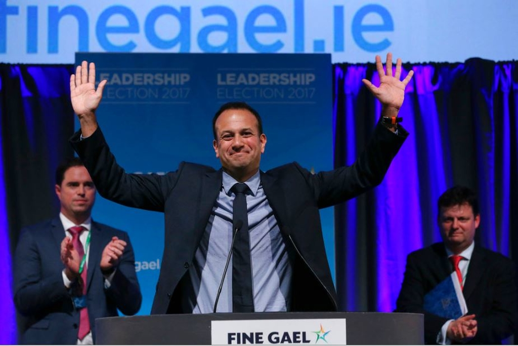 Leo Varadkar celebrates as he is named as Ireland's next prime minister, in the Mansion House in Dublin, Friday, June 2, 2017. Ireland's governing Fine Gael party has elected Leo Varadkar, the gay son of an Indian immigrant, as its new leader and the country's likely next prime minister.