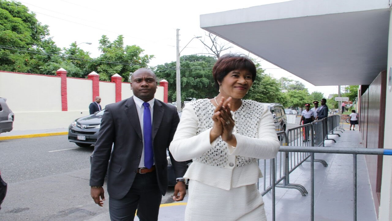 Portia Simpson Miller arrives for Parliament on Tuesday. (PHOTO: Llewellyn Wynter)