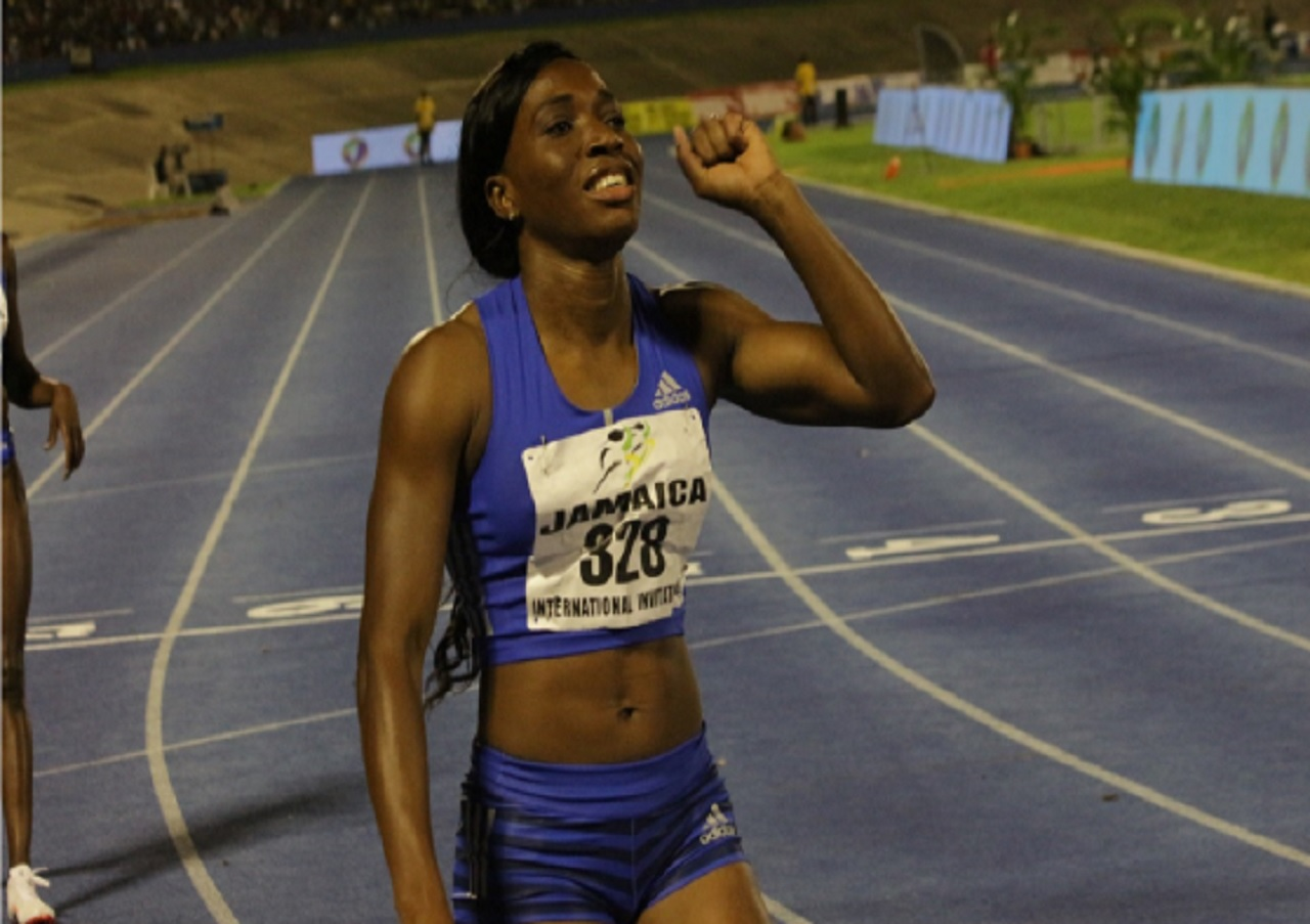 Jamaican Novlene Williams-Mills reacts after winning the women's 400m at the Jamaica International Invitational meet on May 20. Williams-Mills will face off with American Natasha Hastings in Rome on Thursday.