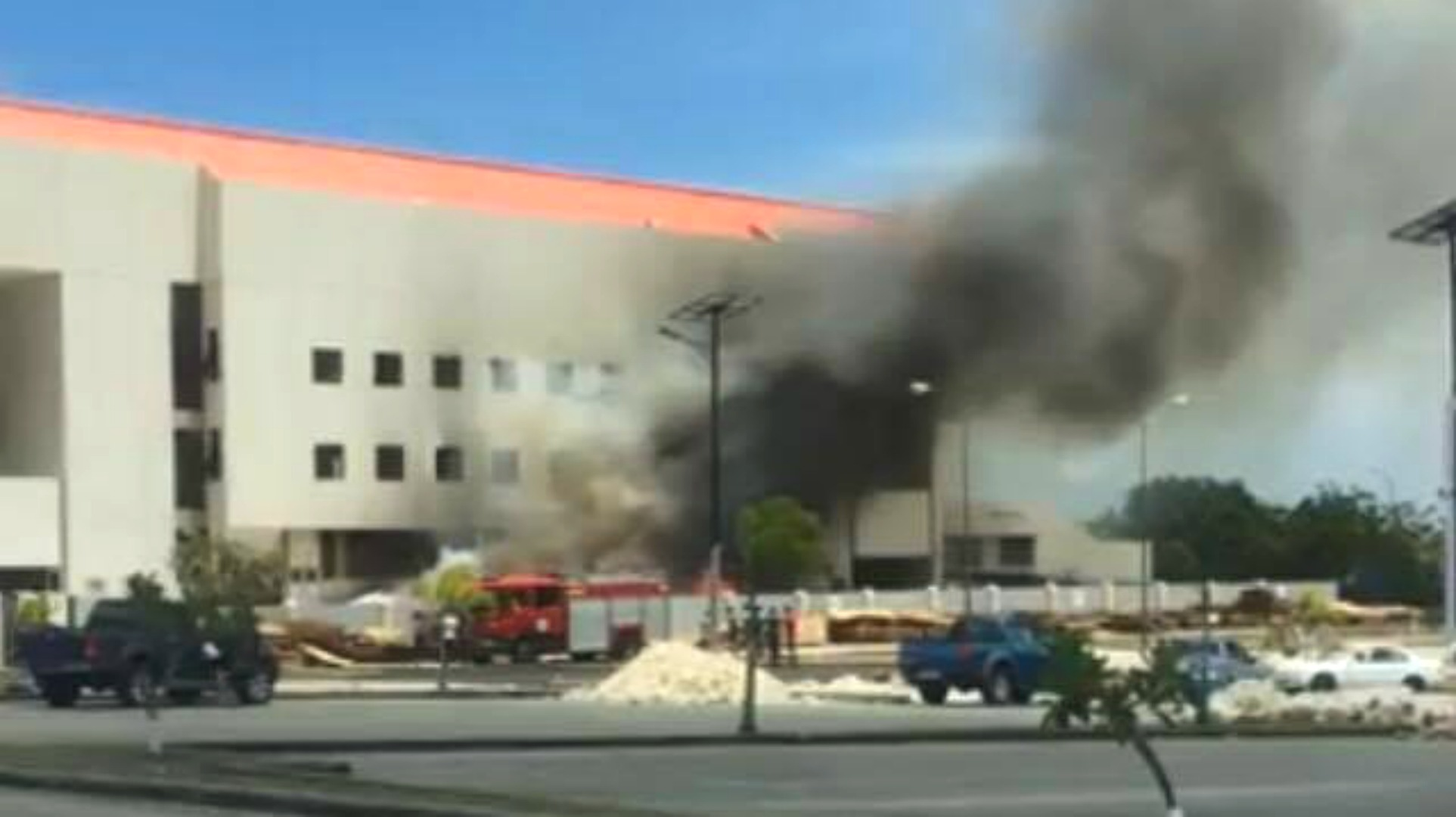 Fire at the Garfield Sobers Gymnasium.