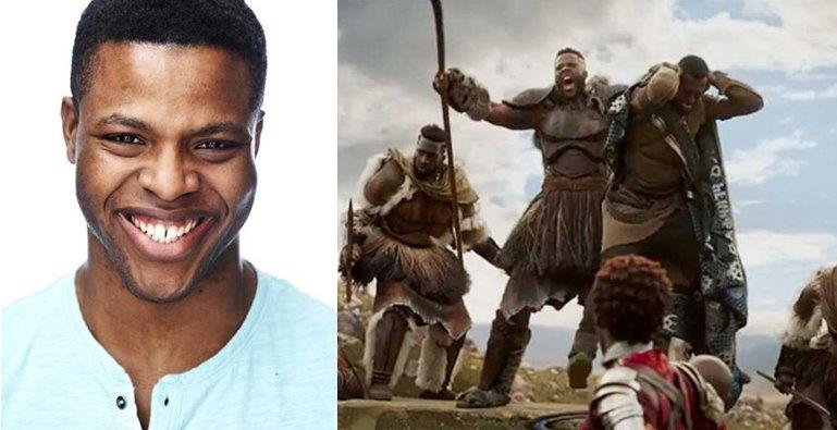 Winston Duke (L) and a scene featuring his character Man Ape in the Black Panther film.
