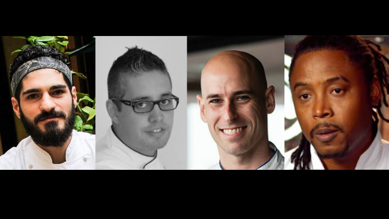 (L-R) Chef Marco Maestoso, Chef Angel Betancourt, Chef Jason Licker and Barbadian Chef Jason Howard will be on island next week for the BHTA Art of Cuisine.