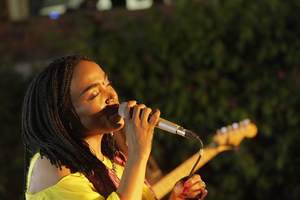 Emeline Michel, en cloture des Rencontres des musiques du monde, donnait samedi 24 juin à l'Institut Français en Haiti son concert explosif /Photo: Eleonore Coyette