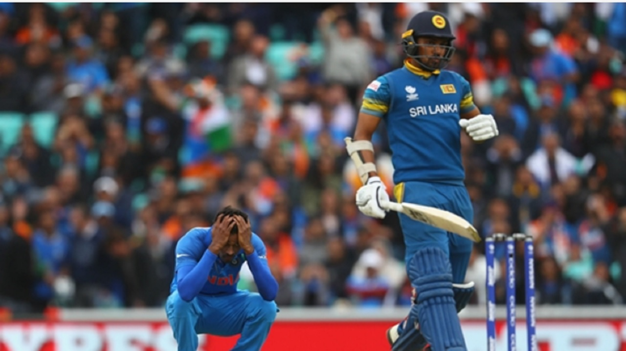 Hardik Pandya reacts angrily as Sri Lanka chase down 322 against India.