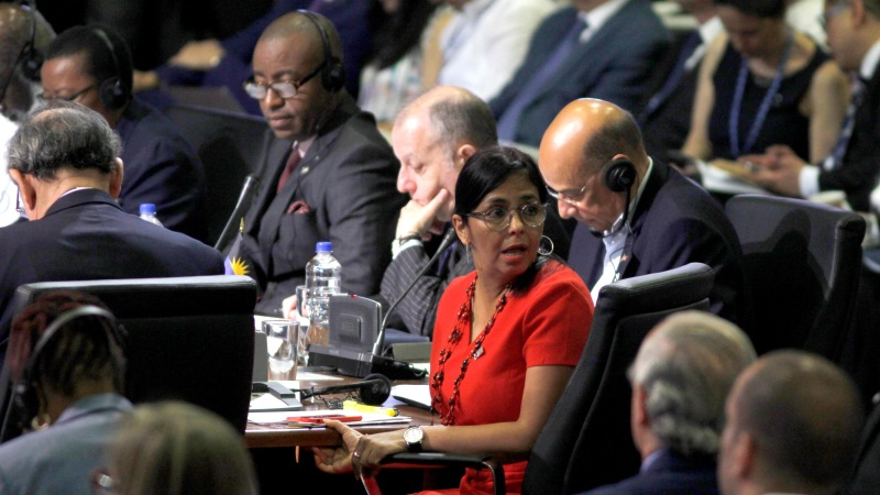 Venezuela's Foreign Minister Delcy Rodriguez looks back during the 2017 General Assembly of the Organization of American States in Cancun, Mexico, Tuesday, June 20, 2017.