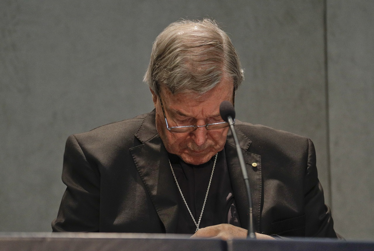 Cardinal George Pell meets the media, at the Vatican, Thursday, June 29, 2017. The Catholic Archdiocese of Sydney says Vatican Cardinal George Pell will return to Australia to fight sexual assault charges as soon as possible.