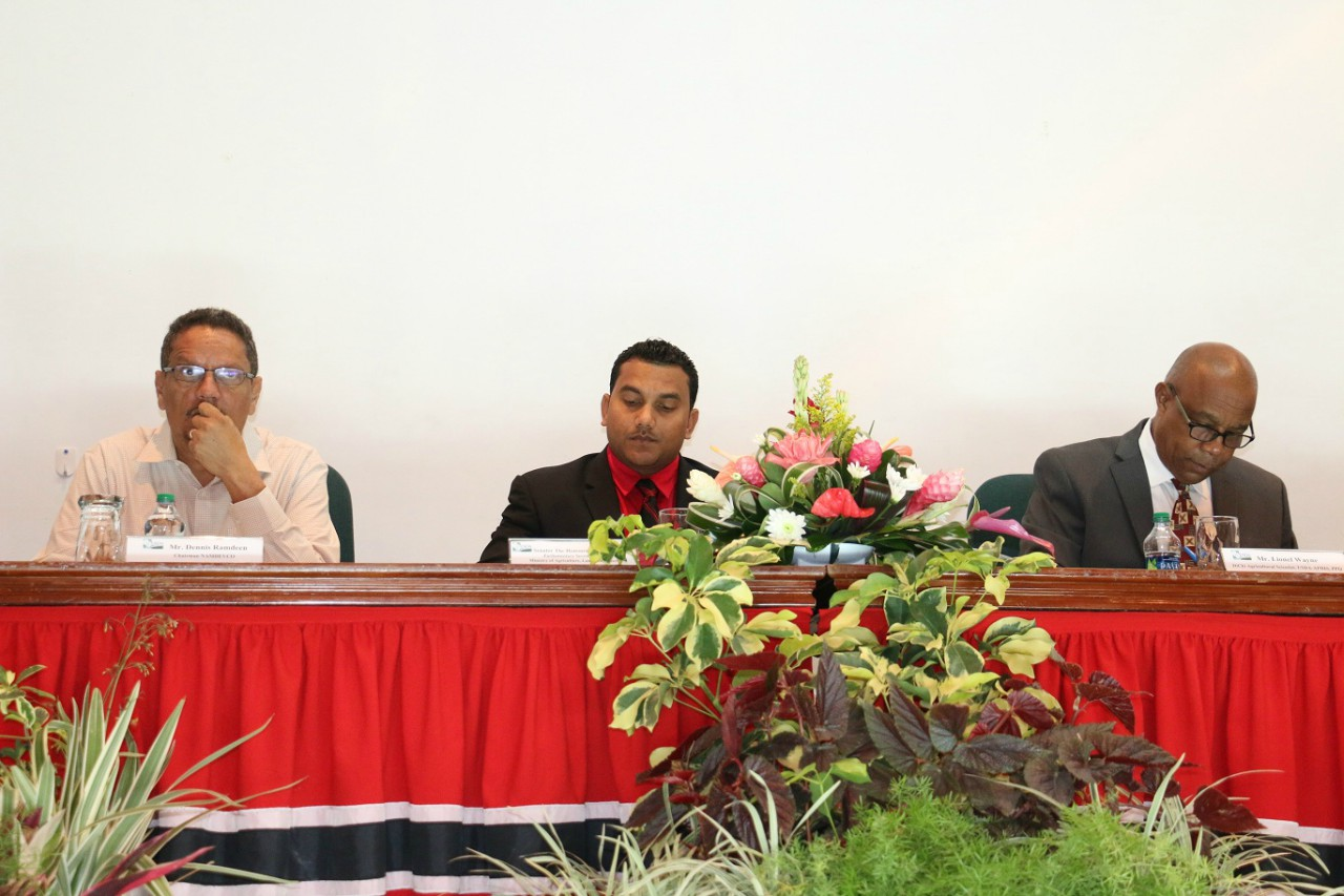 From left to right: Dennis Ramdeen, NAMDEVCO Chairman, Parliamentary Secretary in the Ministry of Agriculture, Land and Fisheries, Senator Avinash Singh and Wayne Di Chi, Agricultural Scientist of the United States Department of Agriculture – Animal and Plant Health Inspection Service (USDA-APHIS)