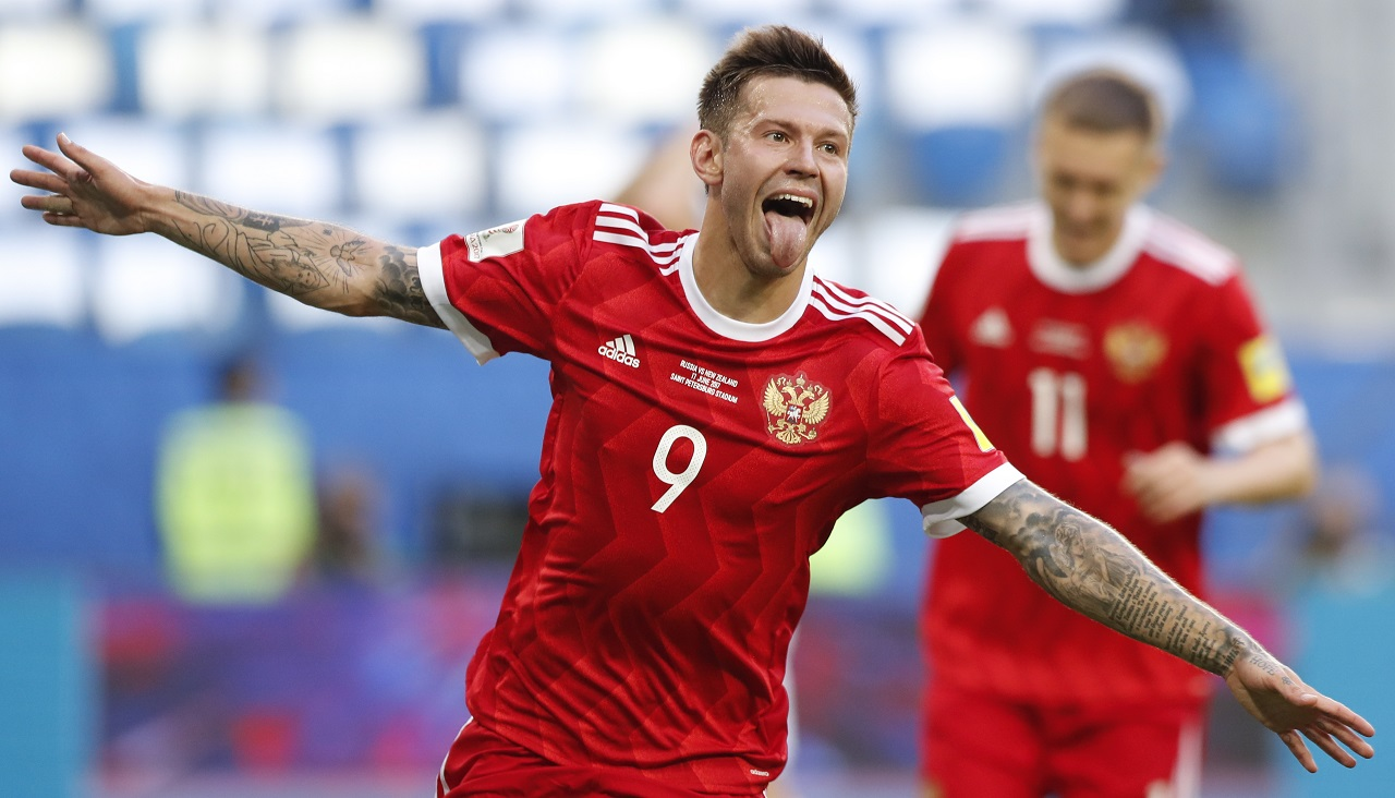 Russia's Fedor Smolov celebrates after scoring his side's second goal during the Confederations Cup, Group A soccer match against New Zealand, at the St. Petersburg Stadium, Russia, Saturday, June 17, 2017.