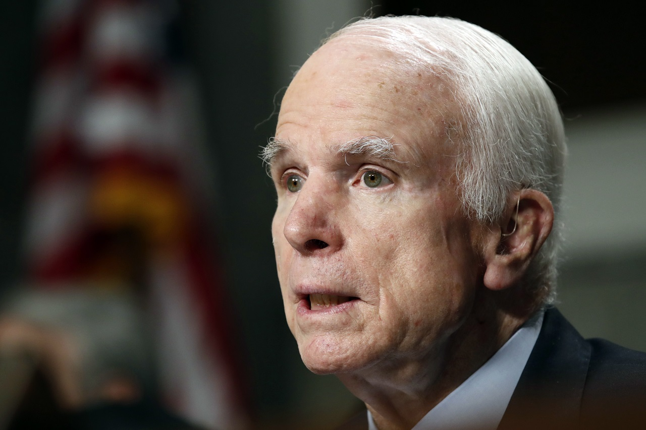 In this June 13, 2017, file photo, Senate Armed Services Committee Chairman Sen. John McCain, R-Ariz. speaks on Capitol Hill in Washington. McCain and Sen. Jack Reed, D- R.I., are asking Defense Secretary Jim Mattis to investigate reports that U.S. military interrogators worked with forces from the United Arab Emirates accused of torturing detainees in Yemen.