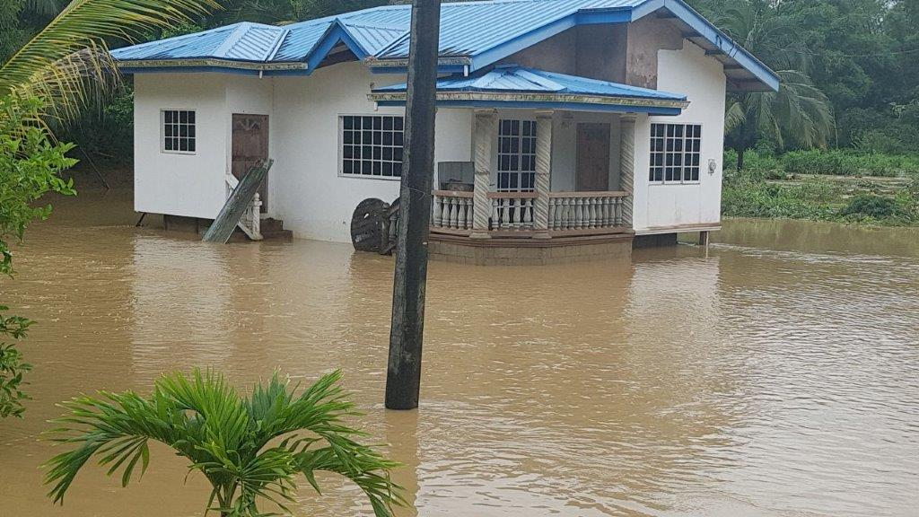 Flood waters remain high in Moruga. Photo courtesy Moruga/Tableland MP Dr Lovell Francis