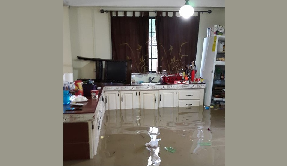 Flooded home in Caparo
