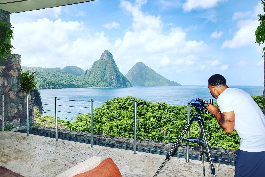 Ludacris takes a shot of the Pitons.