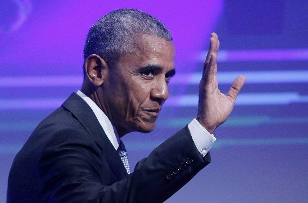 L'ancien président américain Barack Obama lors de son allocution au Palais des Congres à Montréal/ (Photo: Twitter Metro Monde)