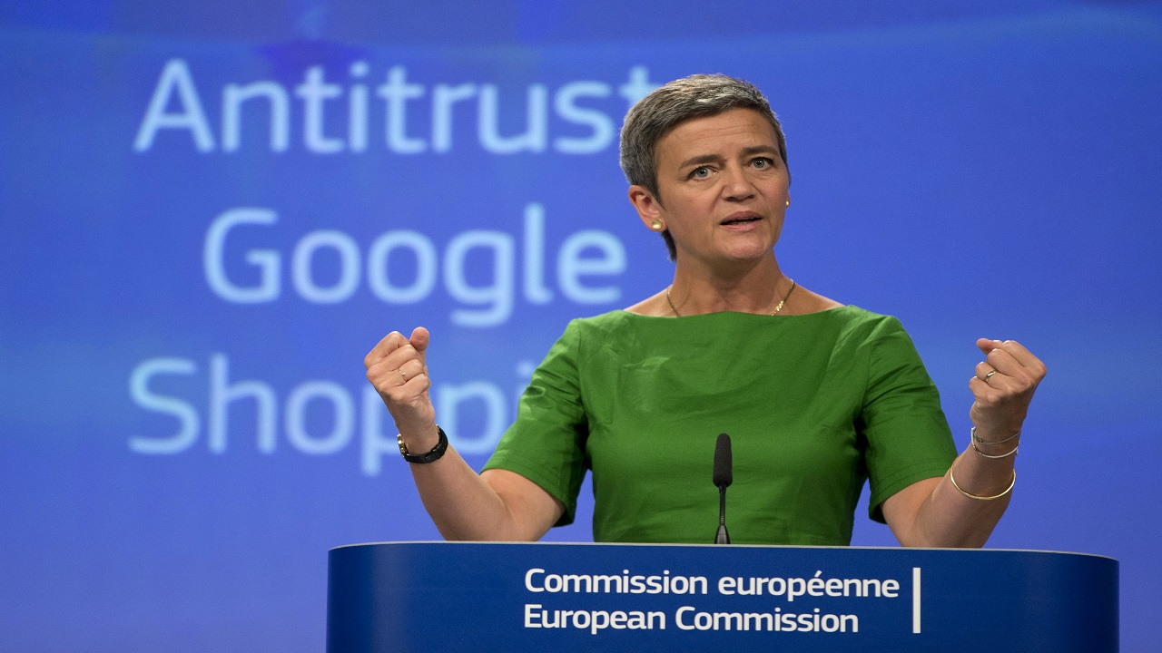 European Union Commissioner for Competition Margrethe Vestager speaks during a media conference at EU headquarters in Brussels on Tuesday.