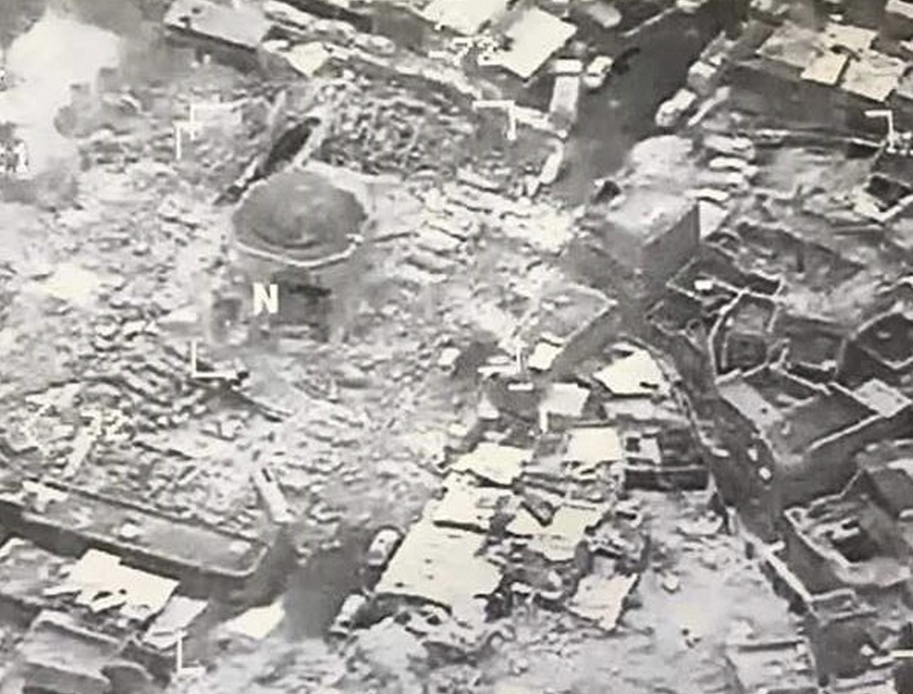 This image provided by U.S. CENTCOM shows al-Nuri mosque destroyed by the Islamic State group, in Mosul, Iraq, Wednesday, June 21, 2017.