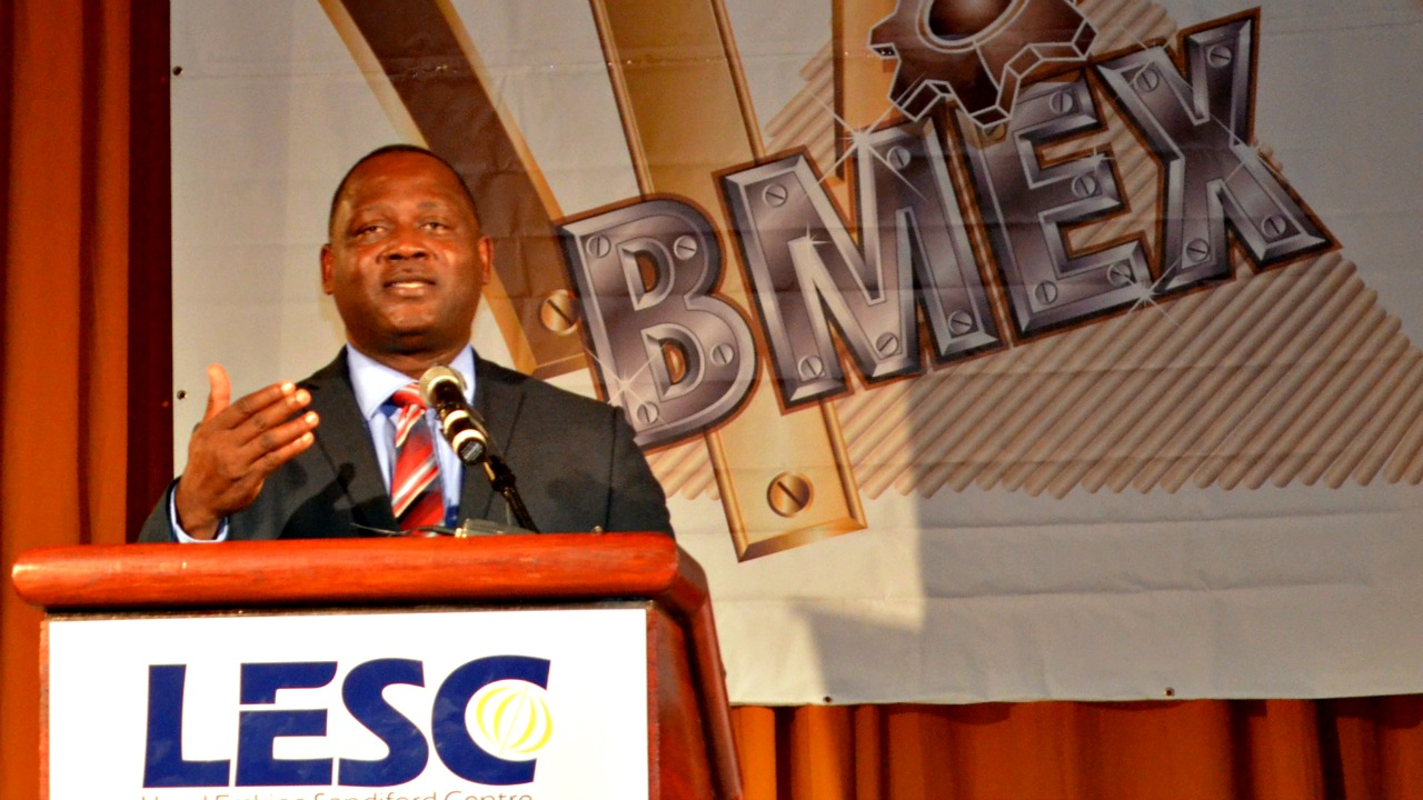 Minister Donville Inniss speaking at the BMEX Opening Ceremony.