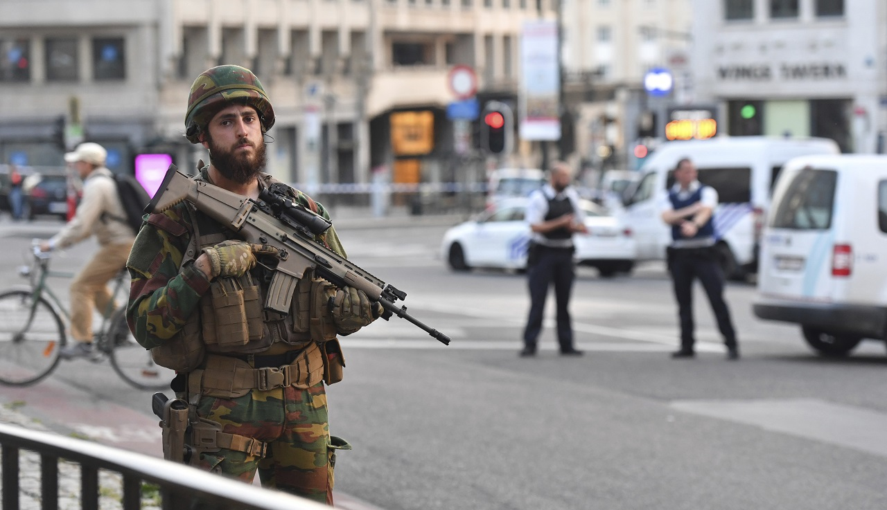 A Belgian Army soldier stands outside Central Station after a reported explosion in Brussels on Tuesday, June 20, 2017. Belgian media are reporting that explosion-like noises have been heard at a Brussels train station, prompting the evacuation of a main square.
