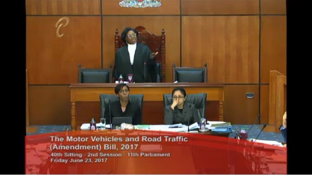 House Speaker Brigid Anisette-George attempts to bring order to the Lower House as protests continue from Opposition members June 23, 2017.