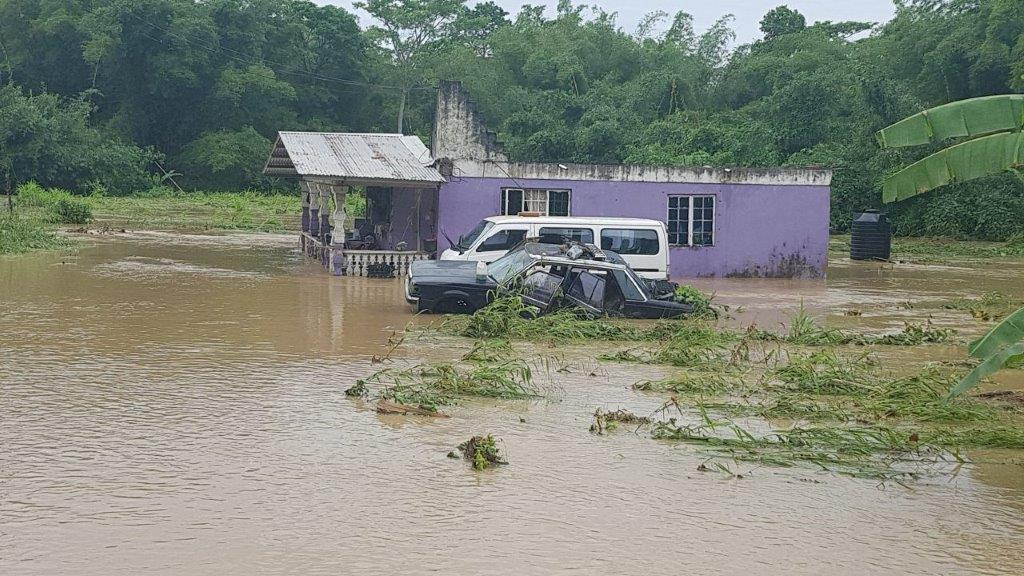 Flood waters are still high in Moruga.  Photo courtesy Moruga/Tableland MP Dr Lovell Francis
