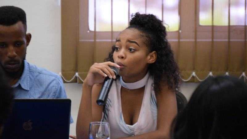 Krystal Hoyte, Vice President of the Barbados Youth Development Council, speaking during an Internet Governance Forum panel. (Photo: Internet Society Barbados Chapter)