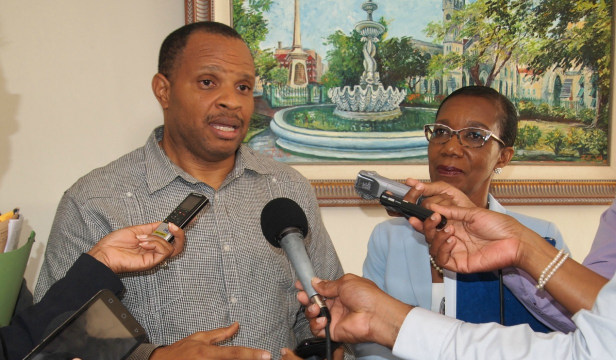 Minister of Finance, Chris Sinckler engaging the media after two days of talks with major private sector groups.