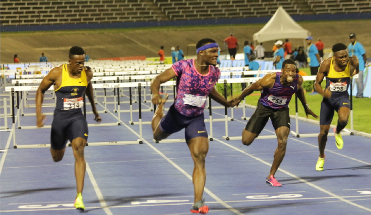 Olympic champion Omar McLeod wins the men's 110m hurdles final in a new national record of 12.90 at the Jamaican Trials at the National  Stadium on Saturday night.