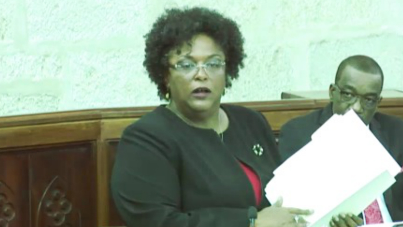 Opposition Leader Mia Mottley delivering her Budget Reply.