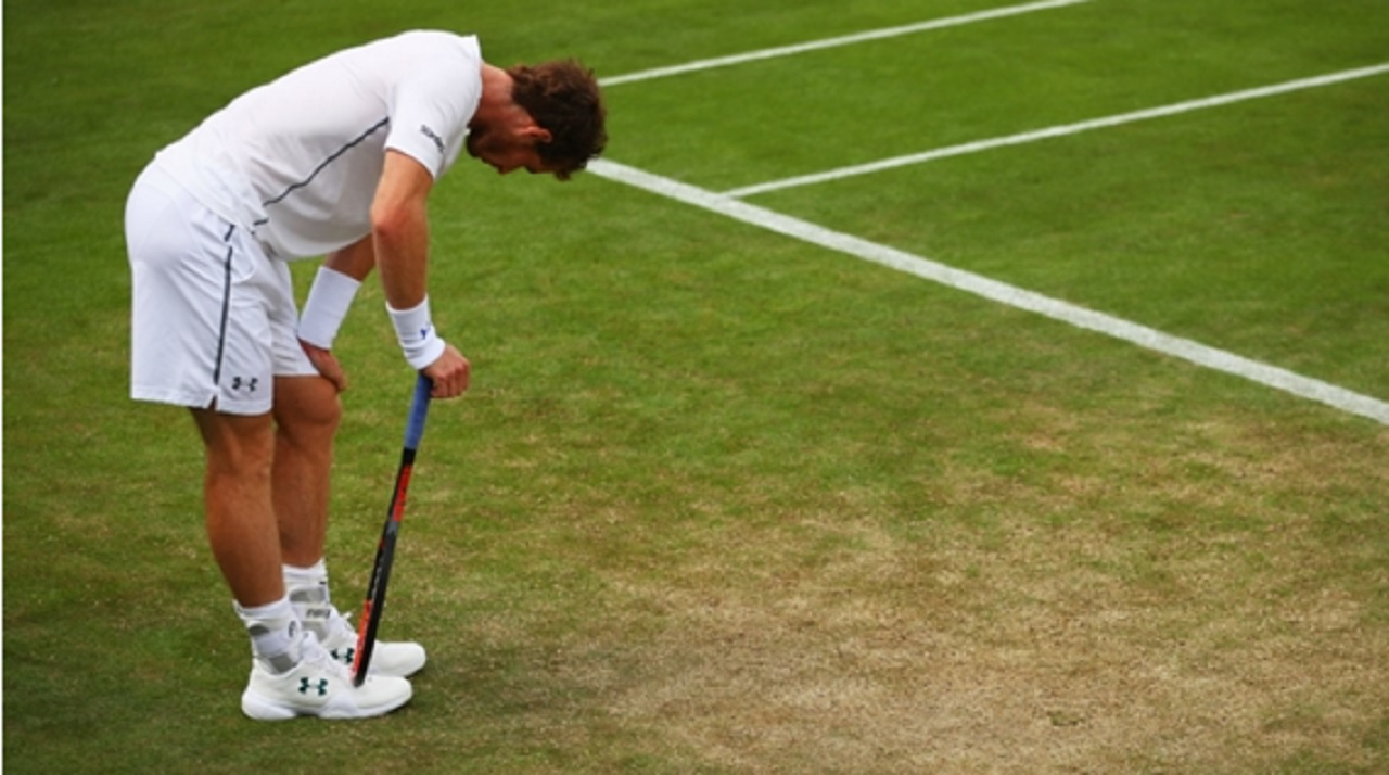 Defending champion Andy Murray during a practice session at Wimbledon.