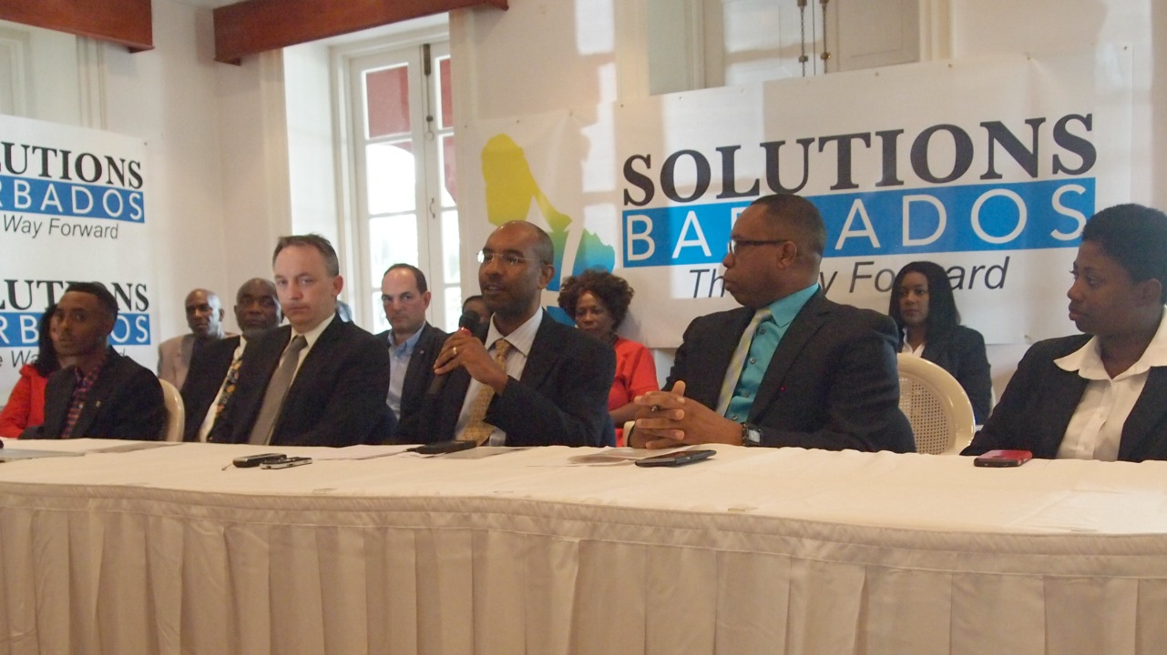 (L-R) Candidates of Solution Barbados: Kemar Stuart, Scott Weatherhead, Grenville Phillips, Paul Gibson and Cherise Pounder