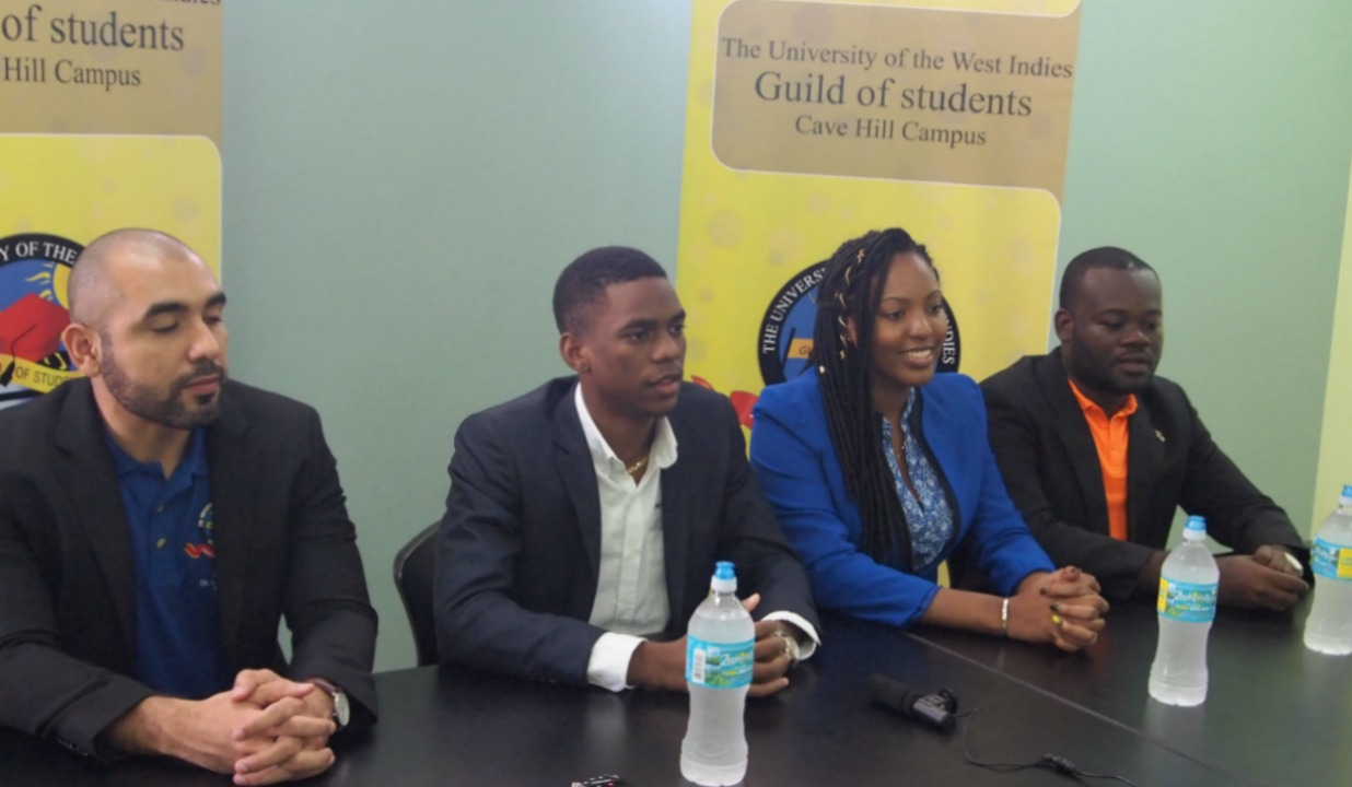 (Left to right): Jonathan St. Louis-Nahous, Guild President of the St. Augustine Campus; Kai Bridgewater, Guild President of the Cavehill Campus; Mikiela Gonzales, Guild President of the Mona Campus; Howard Brown, Guild President of the Open Campus
