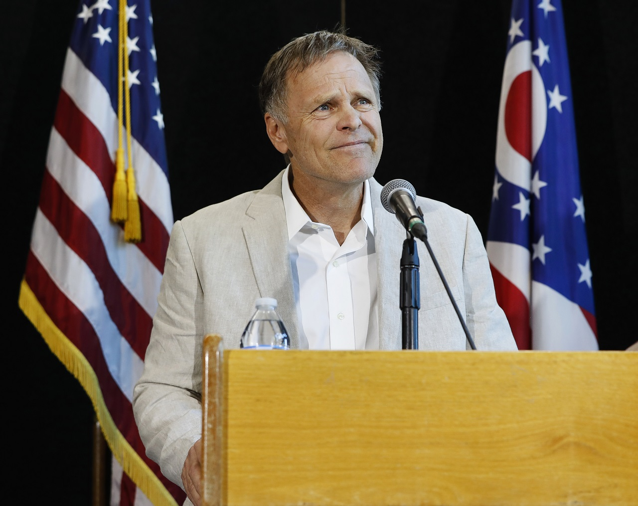 Fred Warmbier, father of Otto Warmbier, a University of Virginia undergraduate student who was imprisoned in North Korea in March 2016, speaks during a news conference, Thursday, June 15, 2017, at Wyoming High School in Cincinnati.