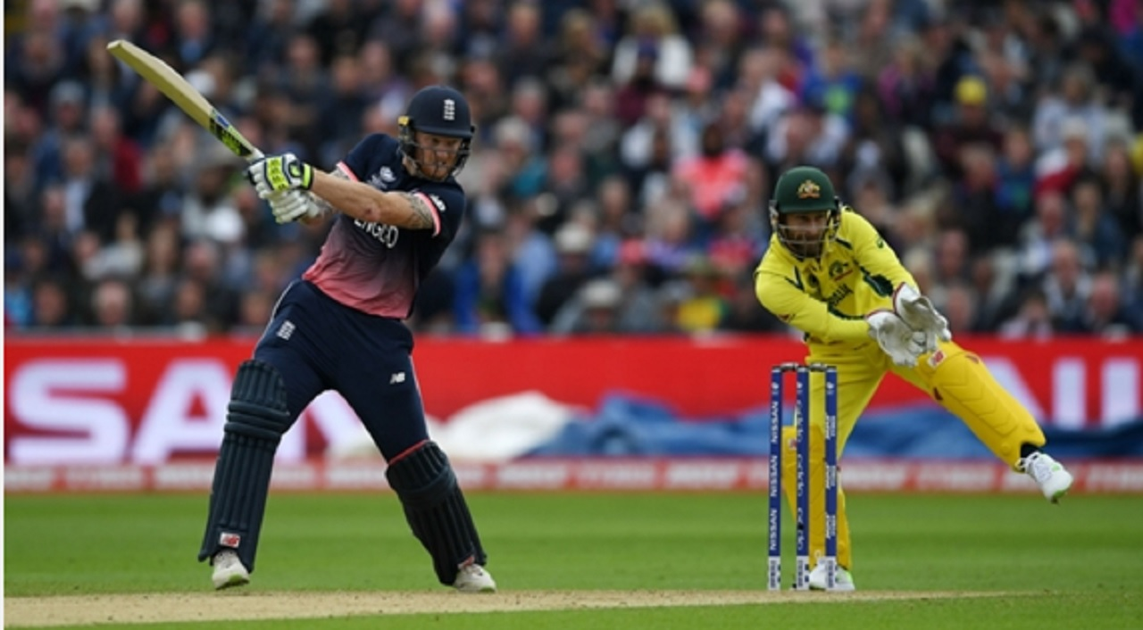 England's Ben Stokes hits out against Australia.