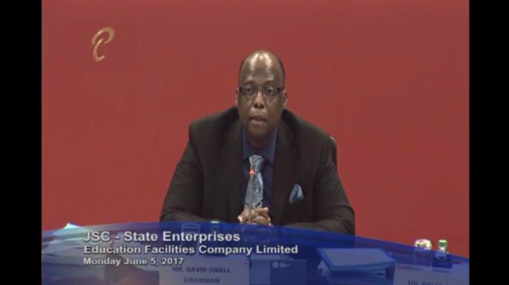 Chairman of the JSC on State Enterprises David Small expresses his disappointment over the absence of EFCL Board members and Executive Management at a JSC hearing on Monday