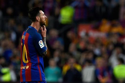 L'attaquant argentin du FC Barcelone Lionel Messi face à Eibar, le 21 mai 2017 au Camp Nou