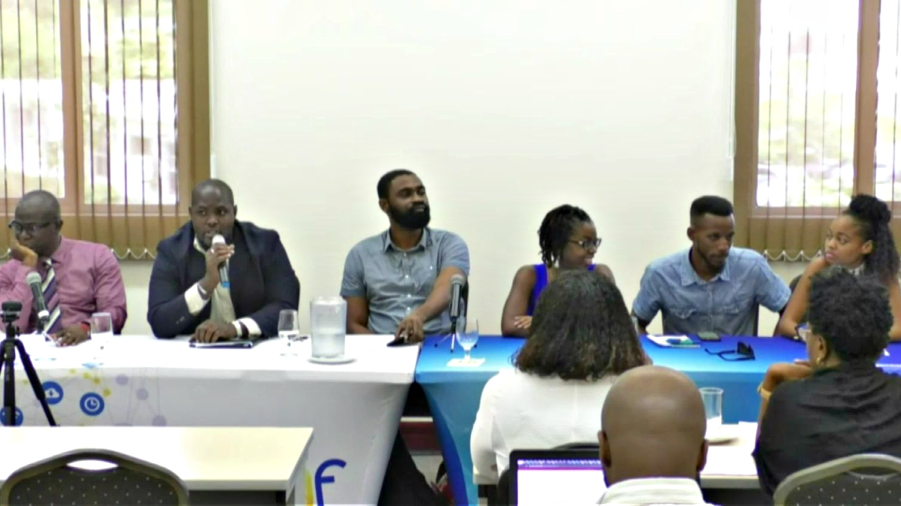 (L-R) Dr Pearson Broome, moderator Jason Francis, Jeremy Stephen, Krystle Howell, Patrick 'Salt' Bellamy and Krystal Hoyte on the panel discussing Internet and Governance - Democracy and Economy at the Internet Governance Forum on Friday.