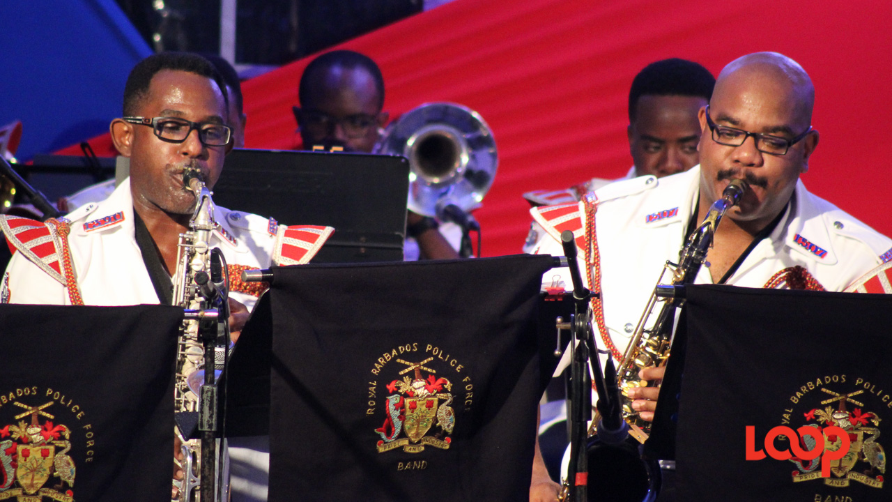 Members of the Royal Barbados Police Force band at Crop Over in the City.