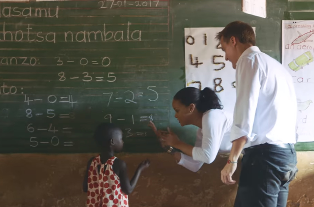 Rihanna did more than observing and dived into teaching during her trip to Malawi.