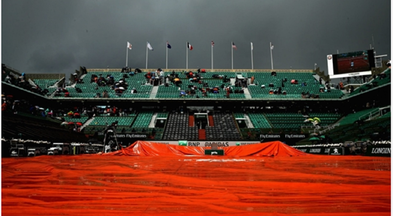 Court Philippe Chatrier covered up with rain falling.