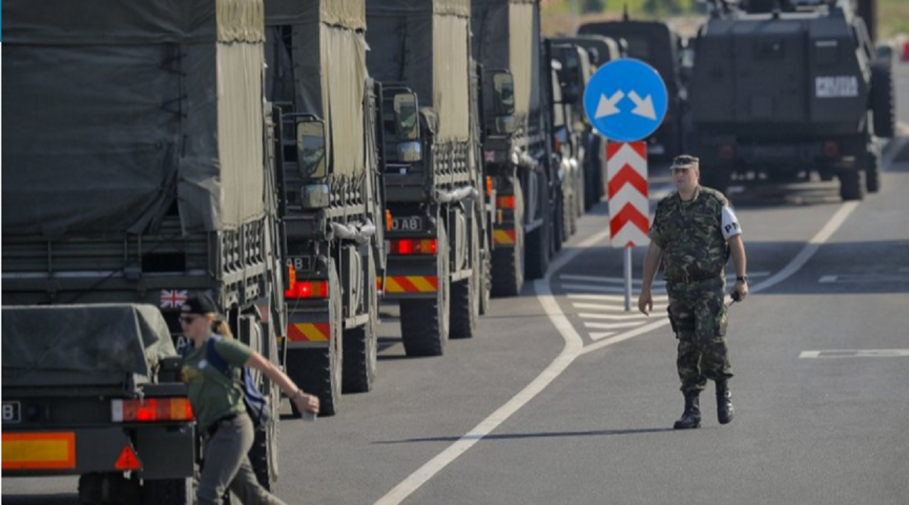 British troops arrive in Romania after crossing the border from Bulgaria in Giurgiu, Romania, Thursday, June 1, 2017 to take part in the alliance's Noble Jump 2017 exercise which tests the readiness of alliance troops.