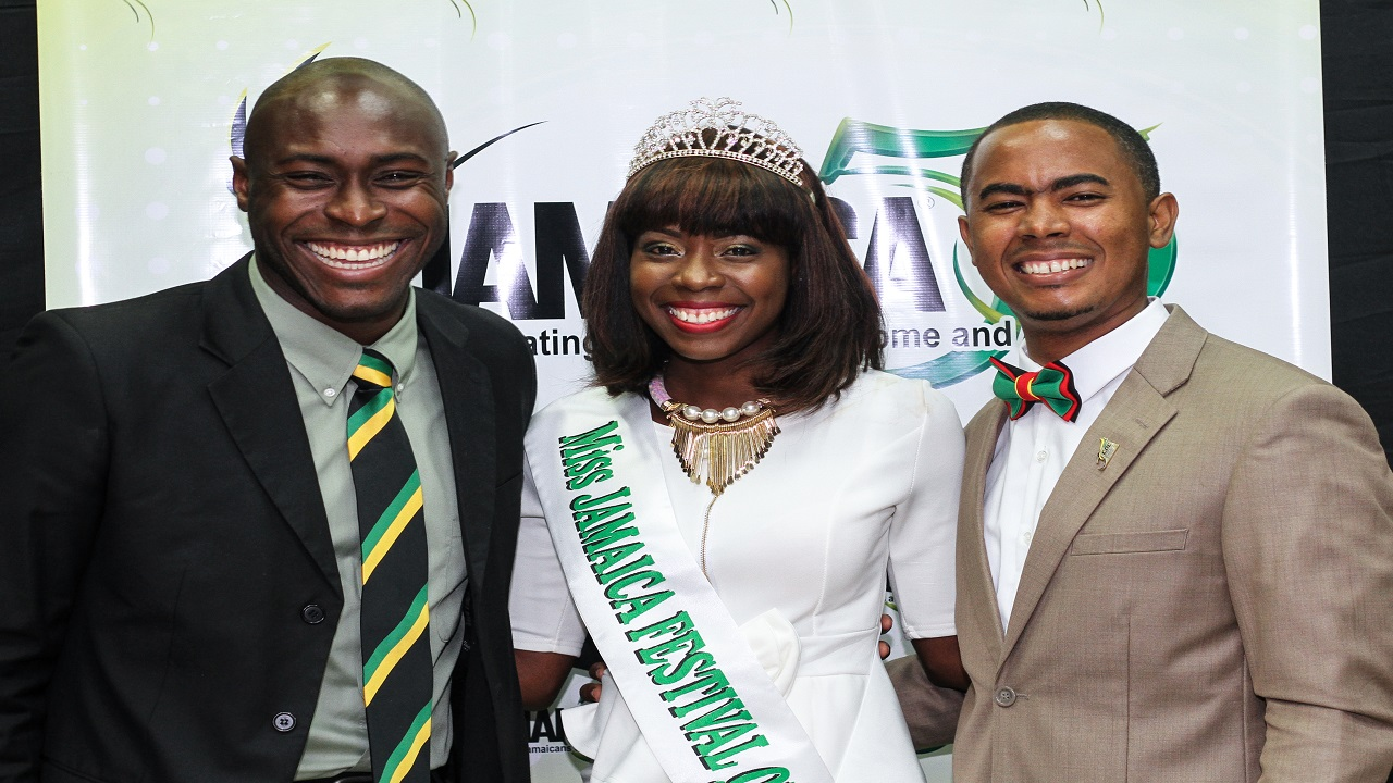 L-R: Dane Richardson, CEO – Digicel Foundation (left), Kyesha Randall, 2016 Miss Jamaica Festival Queen and Stephen Davidson, JCDC Marketing and Public Relations Director
