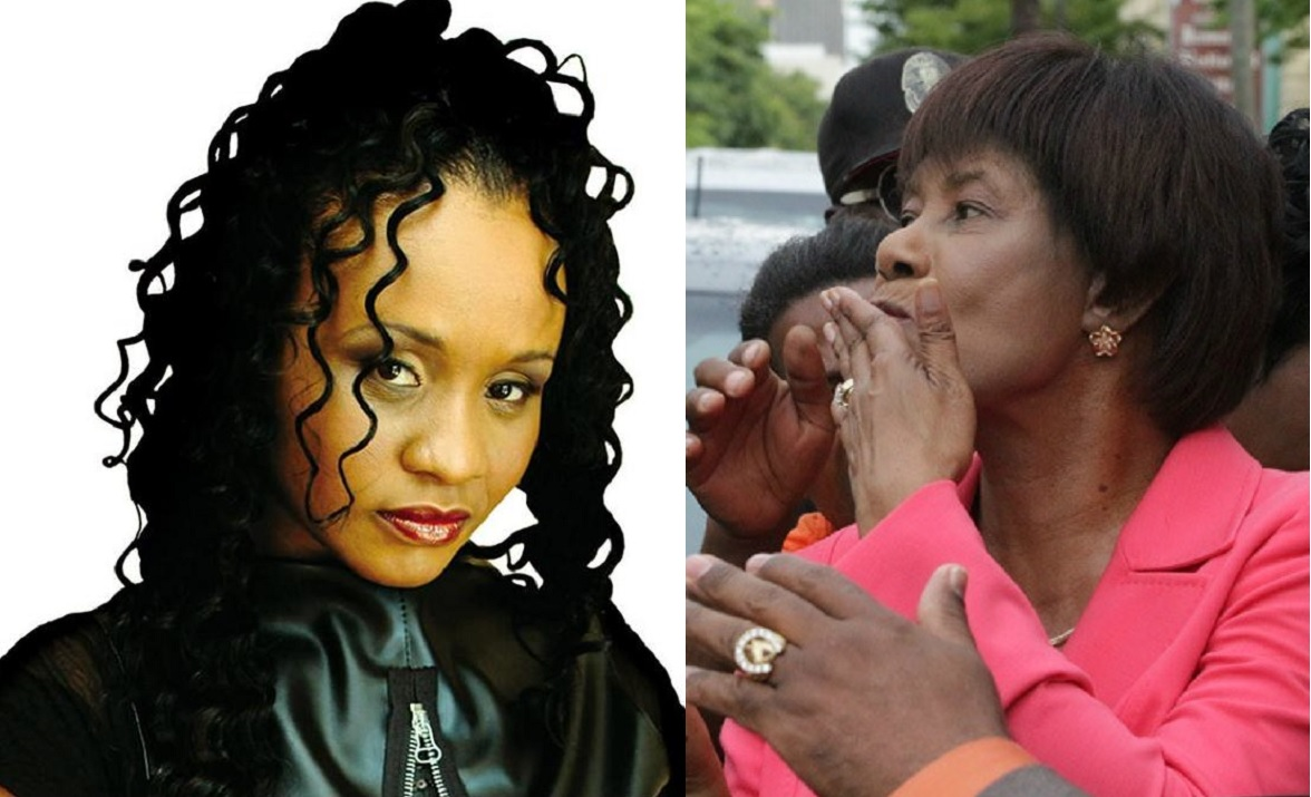 Tanya Stephens (left) and Portia Simpson Miller