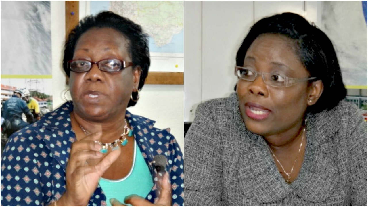 Acting Director of The Barbados Meteorological Services, Sonia Nurse (left) and Director of the Department of Emergency Management, Kerry Hinds.