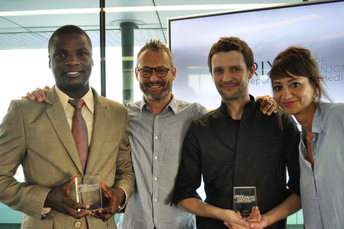 Les lauréats Prix Philippe Chaffanjon 2017 Robenson Henry, Gil Skorwid, Jan Zappner et Prune Antoine/ Credit photo: Prix Philippe Chaffanjon