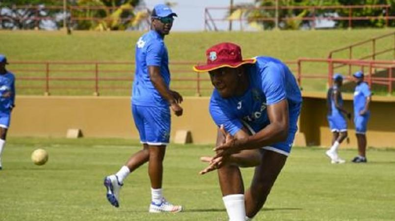 West Indies players at a training session.