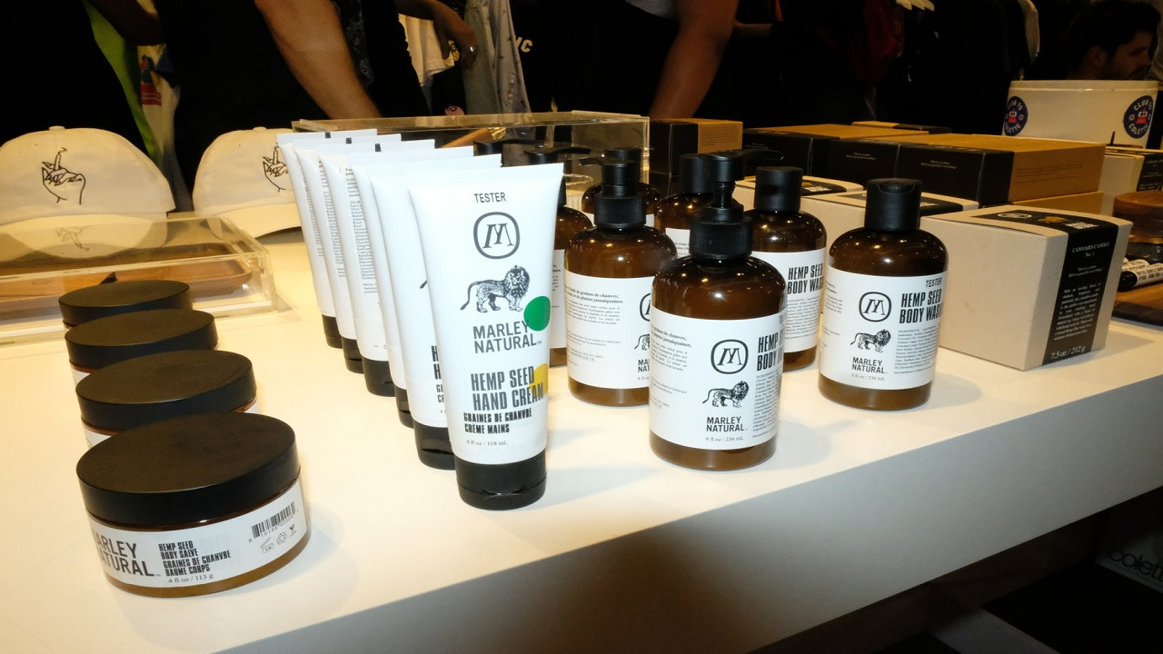 Marley Natural products on display at the launch in Paris.