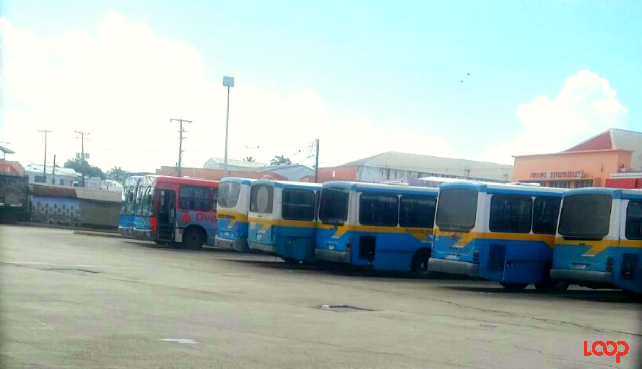 Buses parked at the Fairchild Street Bus Terminal Thursday morning.