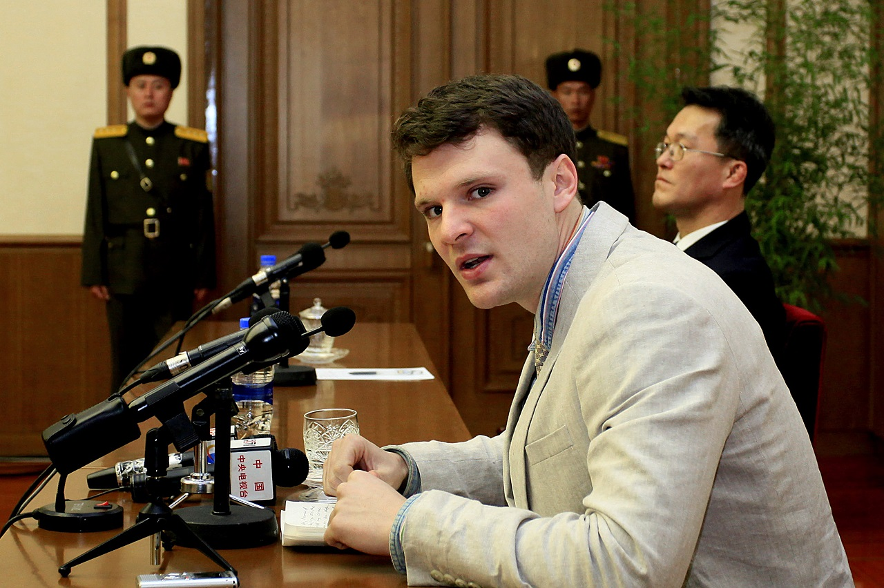 In this Feb. 29, 2016 file photo, American student Otto Warmbier speaks as Warmbier is presented to reporters in Pyongyang, North Korea.