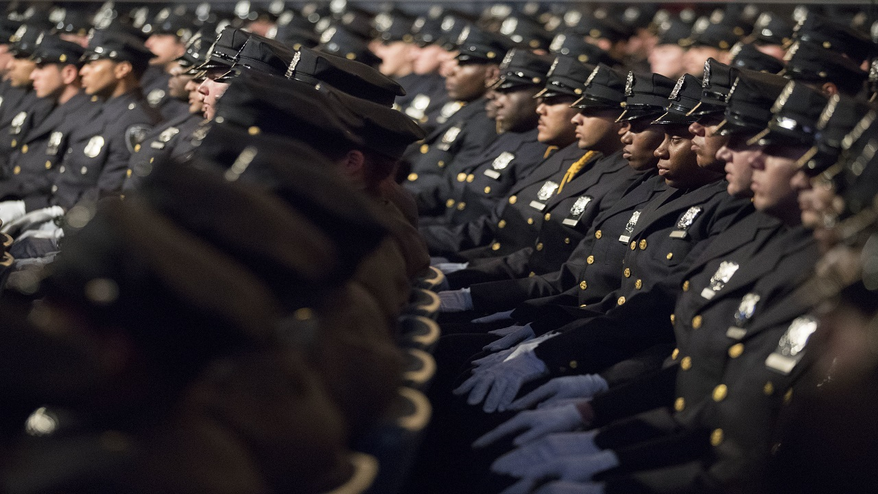 The newest members of the New York City police listen to the speakers during their graduation ceremony, Thursday, June 29, 2017, in New York. (PHOTO: AP)